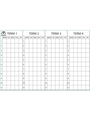 4 Term Mon-Friday Lines & Letters Black (4 Column of Numbers) Term Headings Black