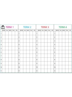 4 Term Mon-Friday Lines & Letters Black (4 Column of Numbers) Term Headings Coloured